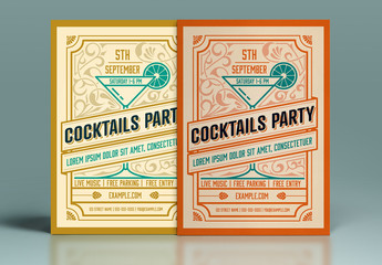 Retro-Style Cocktail Party Invitation Layout