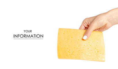 A slice of cheese in a hand pattern on a white background isolation