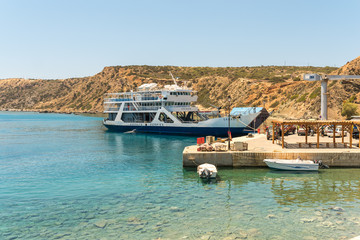 Printed roller blinds Port The ferry from Crete in the harbor of Karave on the island Gavdos