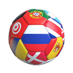 Soccer ball with flags of countries isolated on white