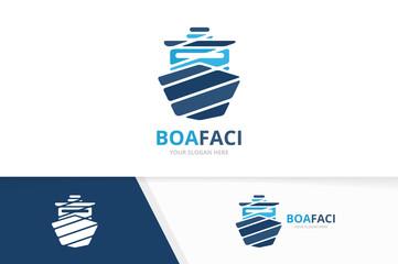 Vector ship logo combination. Boat symbol or icon. Unique yacht logotype design template.