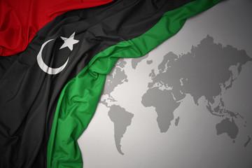 waving colorful national flag of libya.