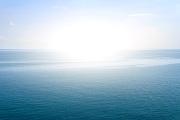 Blue sea waves surface soft and calm with blue sky background