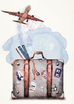 Travel concept. Watercolor design element.