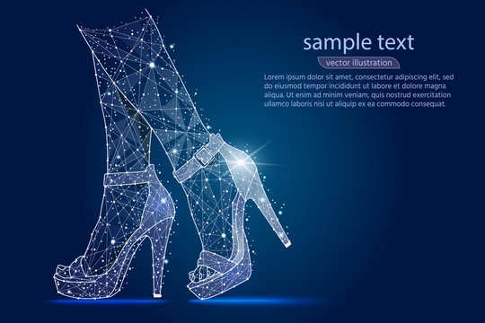 women's legs in shoes, high heels.abstract design ,logo isolated from low poly wireframe on space background. Vector abstract polygonal image mash line and stars. Digital graphics illustration.