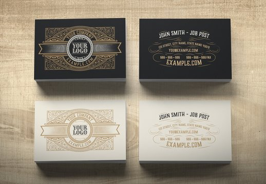 Vintage-Style Business Card Layout