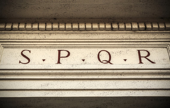 SPQR engraved on stone in Rome, Italy