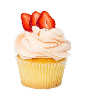 Cupcake with fresh strawberries isolated on white
