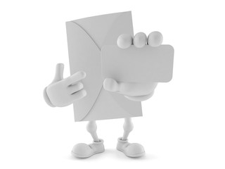 Envelope character pointing finger on business card