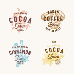 Cinnamon, Anise Spices, Cocoa and Coffee Abstract Vector Sign, Symbol or Logo Templates Set. Hand Drawn Spices and Beans Silhoettes with Premium Vintage Typography. Vintage Vector Emblems.