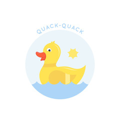 Swimming Little Duck Abstract Vector Sign, Emblem or Logo Template. Flat Style Cute Ducky Illustration. Good for Apparel Design, Tee Shirts, etc.