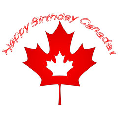 Canada Day Vector Illustration. Happy Canada Day Holiday Invitation Design. Red Leaf Isolated on a white background. Greeting card calligraphy lettering.