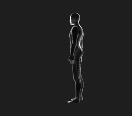 Side view of human body. Wireframe model on black, artificial intelligence in futuristic technology concept, 3d illustration