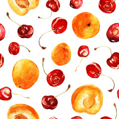 Seamless watercolor pattern with bright red cherries and juicy apricots