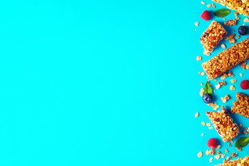 Cereal bars on a bright pastel background