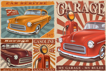 Set of Vintage Car Posters.
