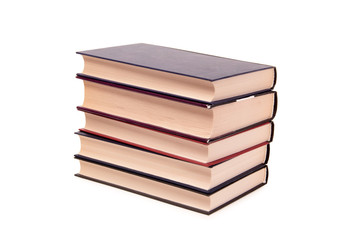 Stack of old paper books on a white background