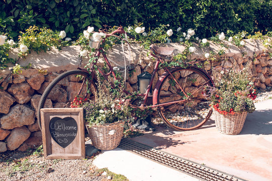 Beautiful vintage bicycle decorated with flowers