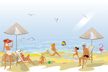 Series of summer backgrounds with blue sky and sea water, sun. People sunbathing on the beach. Hand drawn card illustration.