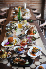 Restaurant table full of food