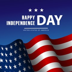 Fourth of July Independence Day poster or card template with american flag.