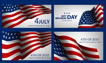 Happy Independence Day! Set of American banners for 4th of July theme.