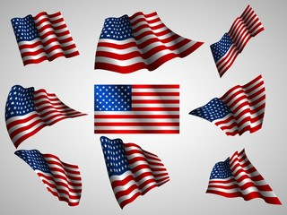 Illustration of waving USA flag, isolated flag icon.
