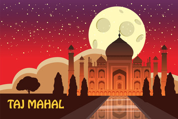 The Taj Mahal. White marble mausoleum on the south bank of the Yamuna river in the Indian city of Agra, Uttar Pradesh. Starry sky. Night. Vector illustration.