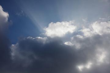 Beautiful sky sunrice time sunset clouds blue mood peace calm peaceful landscape rays through clouds