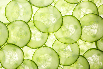 Slices of ripe cucumber as background, top view