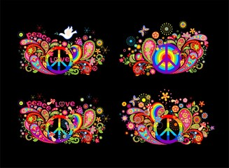 Colorful t shirt prints collection with hippie peace symbol, flying dove with olive branch, abstract flowers, mushrooms, paisley and rainbow on black background