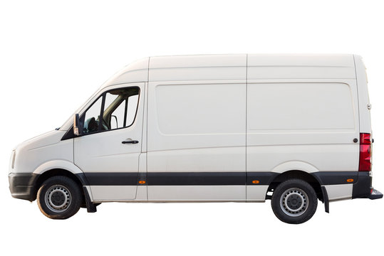 Parked white cargo transport for business on white isolated background