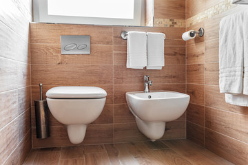 Bathroom interior. Closeup of Bidet and wc in simple but elegant italian style bathroom