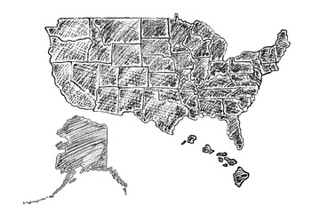 Hand drawn map of United States of America (USA) painted with charcoal pencil. Black and white vector illustration isolated on white background.