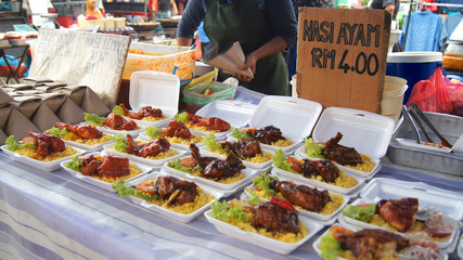 PULAU LANGKAWI, MALAYSIA - APR 4th 2015: Traditional asian food on the street food and night market on Langkawi island