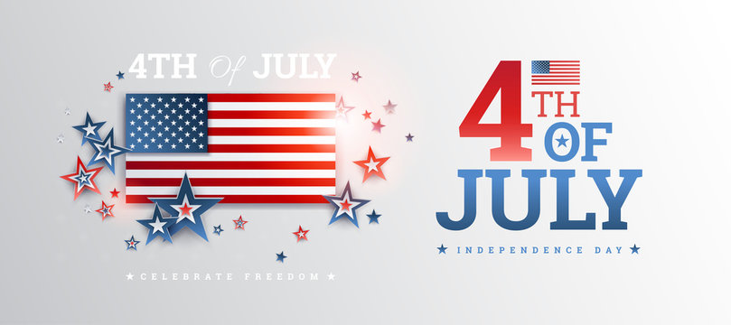 Happy 4th of July Independence Day USA banner design background - vector USA illustration