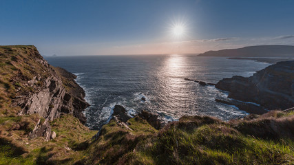 The Kerry cliffs, West Ireland at sunset, Ring of Kerry route