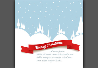 Christmas Card Layout with Snowy Landscape Illustration