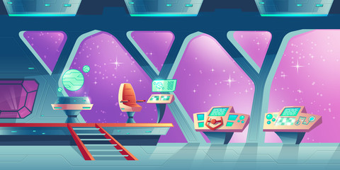 Vector cartoon interior of spaceship, cockpit with control panels and handwheel. Compartment for crew and pilots with chair for captain and virtual map of universe. Concept background for game design