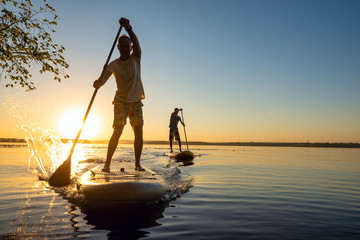 Men, friends sail on a SUP boards in a rays of rising sun Wall mural