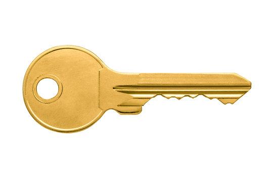 Golden key apartment isolated on white background