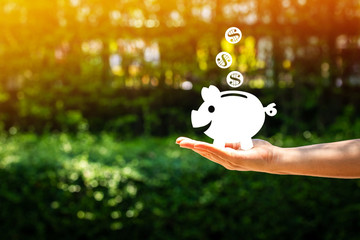 Women hold a piggy bank with drop a dollar coin make with a paper cut on nature bokeh in the public park, a loan or saving money for future investment concept.