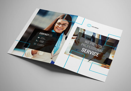 Business Bifold Brochure with Blue Accents