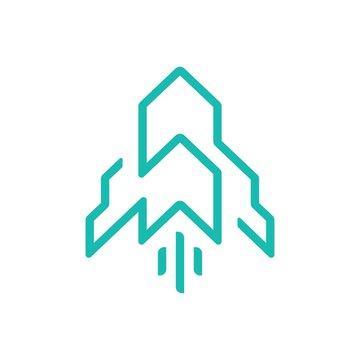 modern rocket line art logo design template