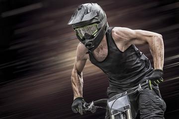 Closeup of a mountain biker while cycling