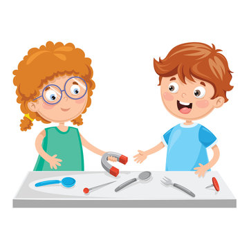 Vector Illustration Of Kids Using Magnet