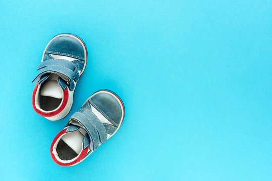 Top view of newborn baby boy shoes