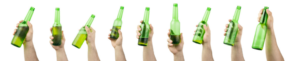 Bunch Of Hands Holding Ice Cold Wet  Green Beer Bottles From Full To Empty Isolated On White Background