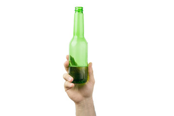 Hand Holding Ice Cold Wet Green Beer Bottle Isolated On White  Background