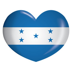 Illustration heart icon with flag of Honduras. Ideal for catalogs of institutional materials and geography